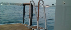 Black carbon and Teak Handrails for Beach club on M.Y Vava 2